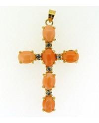 Croix dorée Corail & Zirconium